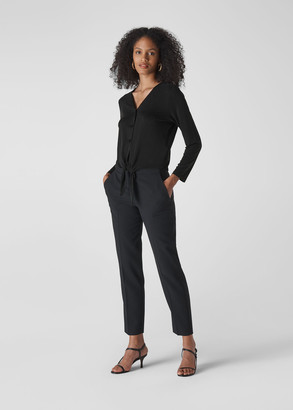 Cupro Button Tie Front Top
