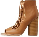 Charlotte Russe Qupid Lace-Up Peep Toe Booties