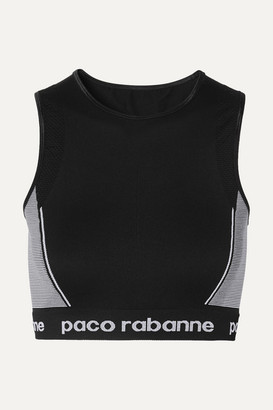 Paco Rabanne Paneled Stretch-jersey Sports Bra - Black