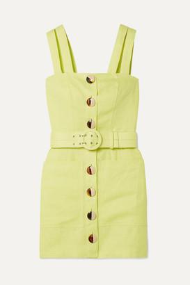 Nicholas Belted Linen Mini Dress - Chartreuse