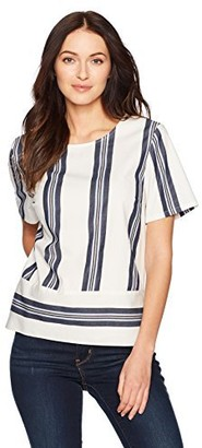 Nautica Women's Short Sleeve Striped Top