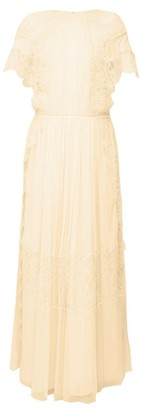 Chloé Lace-sleeve Silk Maxi Dress - Beige