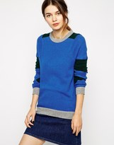 Crew Neck Washed Cashmere Multi-Color Block Sleeve Sweater