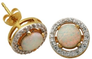 PRIME ART & JEWEL 18K Gold over Sterling Silver with Lab Created Opal and Cubic Zirconia Round Stud Earrings