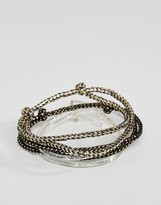 Asos Bracelet Pack In Gold And Glitter