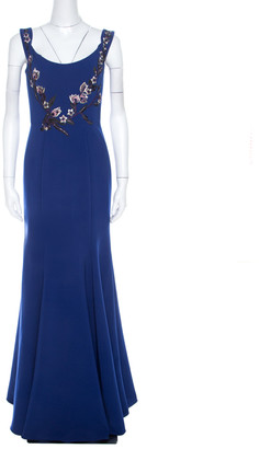 Marchesa Royal Blue Floral Bead Embroidered Detail Off Shoulder Evening Gown S