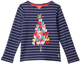 Joules Kids Harbour Luxe T-Shirt (Toddler/Little Kids/Big Kids) (Navy Xmas Tree) Girl's Clothing