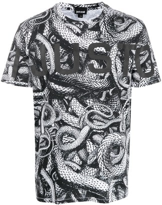 Just Cavalli logo snake T-shirt