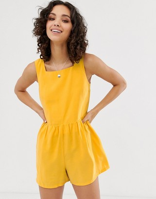 ASOS DESIGN minimal button back playsuit