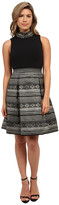 Vince Camuto Sleeveless Stand Neck Party Dress w/ Brocade Skirt and Beaded Ity Top