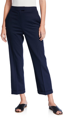 St. John Cuffed Stretch Tropical Wool Cropped Pants