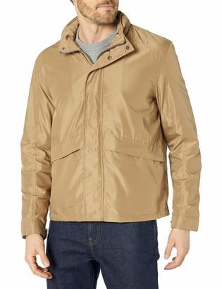 Cole Haan Men's Open Bottom Trucker Packable Rain Jacket