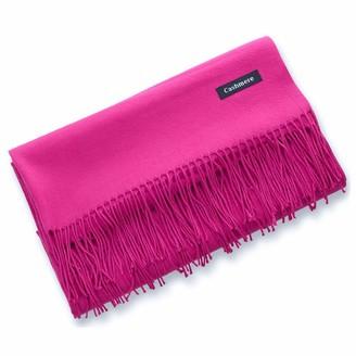 Yueunishi Winter Cashmere Wool Scarf Pashmina Shawl Wrap for Women Long Large Warm Thick Reversible Scarves (rose red)
