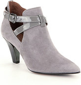 Donald J Pliner Tamy Suede Side Cut Out Patent Leather Trim Booties