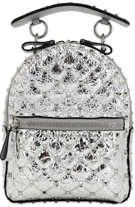 Valentino Mini Spike Laminated Leather Backpack