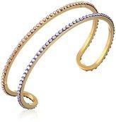 "Chamak by Priya Kakkar Cutout with Lavender Swarovski Crystals Cuff Bracelet, 3"""