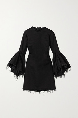 Marques Almeida Marques' Almeida - Ruffled Frayed Denim Mini Dress - Black