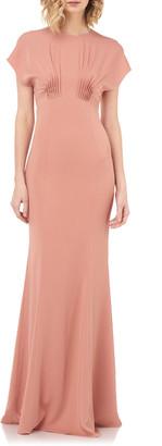 Kay Unger New York Dolman-Sleeve Column Gown with Pintucks
