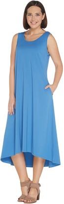 Joan Rivers Classics Collection Joan Rivers Regular Jersey Knit Midi Dress w/ Hi-Low Hem and Pockets