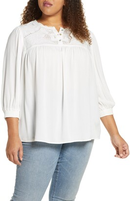 Daniel Rainn Lace Yoke Blouse