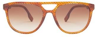 Burberry Tb-print Aviator Acetate Sunglasses - Mens - Orange