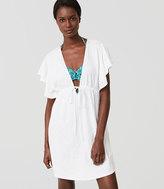 LOFT Beach Flutter Drawstring Dress