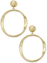 Kate Spade Gold-Tone Polished Drop Hoop Earrings