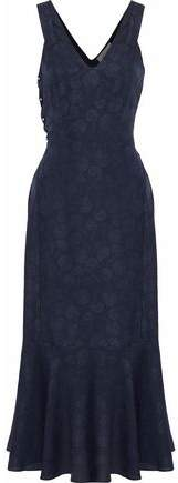 Derek Lam 10 Crosby Barbell-Embellished Layered Silk-Jacquard Midi Dress