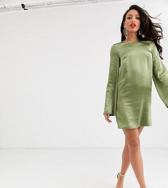 Asos Tall DESIGN Tall long sleeve satin shift mini dress in washed satin-Green