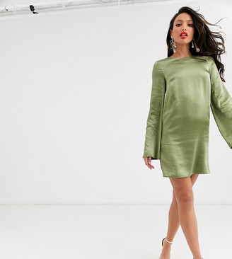 Asos Tall ASOS DESIGN Tall long sleeve satin shift mini dress in washed satin