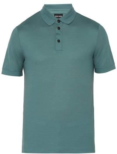 Giorgio Armani Fine Knit Virgin Wool Polo Shirt - Mens - Blue