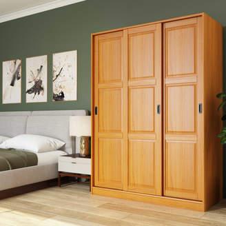 Palace Imports 100% Solid Wood 3-Sliding Door Wardrobe/Armoire/Closet, Java