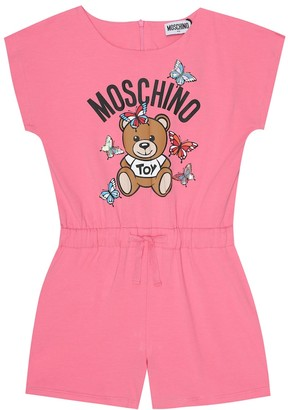 MOSCHINO BAMBINO Logo stretch-cotton playsuit