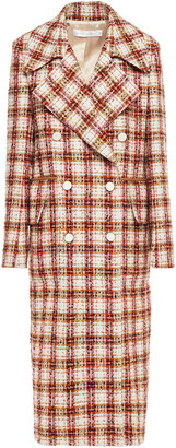 Victoria Beckham Double-breasted Checked Boucle-tweed Coat