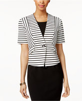 Nine West Single-Button Striped Blazer
