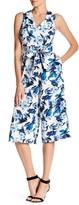 Donna Ricco Floral Print Crop Leg Jumpsuit
