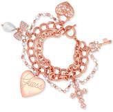 GUESS Rose Gold-Tone Heart & Cross Pave Charm Bracelet