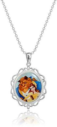 Disney Beauty and The Beast Belle Two Sided Stained Glass Pendant Necklace