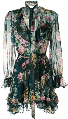 Zimmermann Frilled Floral Silk Dress