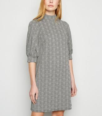 New Look Light Check Puff Sleeve Dress