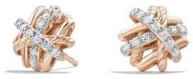 David Yurman Crossover Earrings With Diamonds In 18K Rose Gold, 11Mm