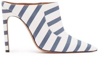Altuzarra Davidson Striped Cotton Mules - Womens - Navy Stripe