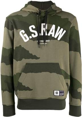 G Star Research logo camouflage print hoodie