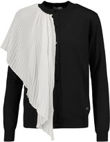 Vionnet Plissé-georgette and wool, silk and cashmere-blend cardigan