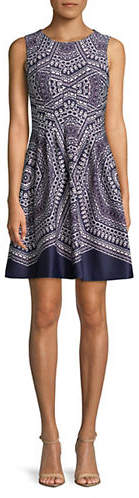 Vince Camuto Sleeveless Printed Scuba Fit-And-Flare Dress
