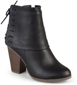 Brinley Co. Women's High Heel Corset Lace Chunky Heel Ankle Boots