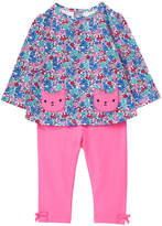 Gymboree Blue & Pink Floral Cat Appliqué A-Line Top & Pants - Infant