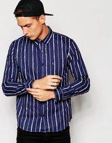 Huf Huf Shirt In Broken Stripe - Blue