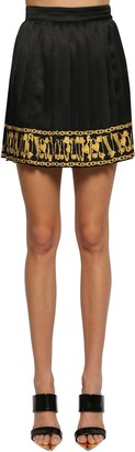 Versace Pleated Silk Twill Mini Skirt