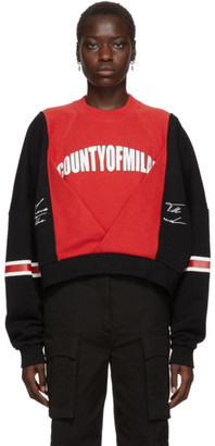 Marcelo Burlon County of Milan Black and Red Logo Colorblock Sweatshirt